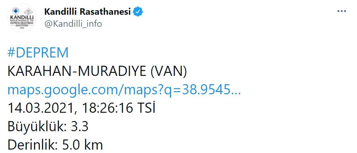 Van'da 3.3 şiddetinde deprem! 14 Mart Van'da deprem mi oldu?