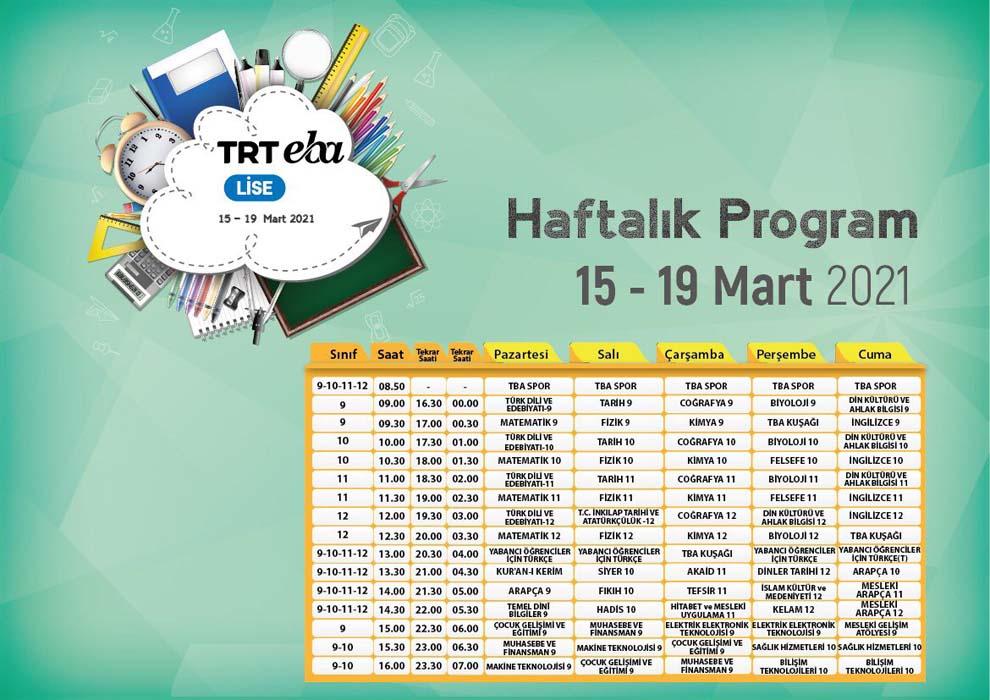 TRT EBA TV 15- 19 Mart 2021 yeni haftanın akışı   MEB EBA canlı yayın izle