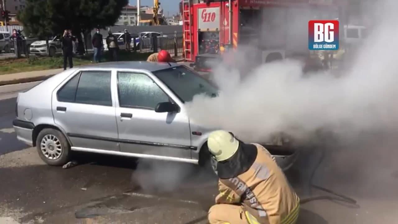 İstanbul Pendik'te LPG'li araç alev alev yandı! Sürücü canını son anda kurtardı