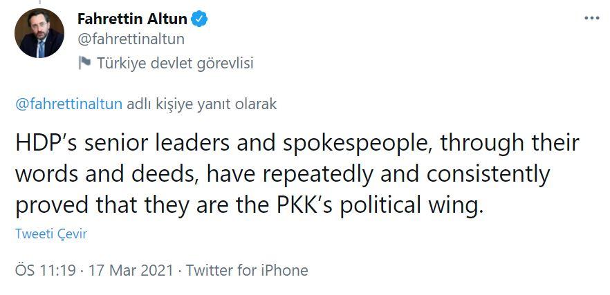 İletişim Başkanı Altun'dan 'HDP' açıklaması: PKK ile organik bağlarının olduğu tartışılmaz gerçek