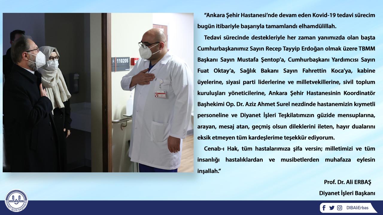 Son dakika... Koronavirüs salgınını yenen Diyanet İşleri Başkanı Ali Erbaş taburcu oldu