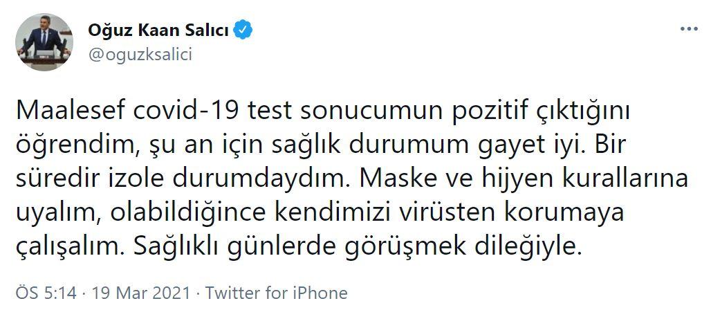 CHP İstanbul milletvekili Oğuz Kaan Salıcı, koronavirüse yakalandı!