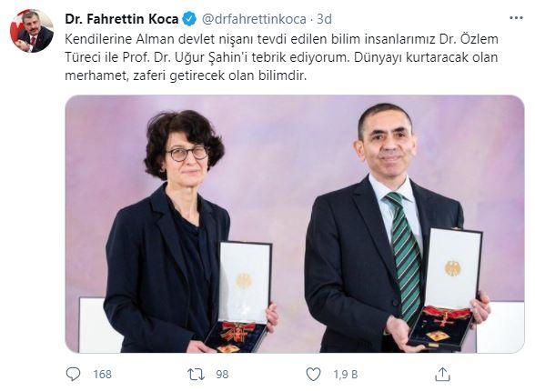 Bakan Koca, Dr. Özlem Türeci ile Prof. Dr. Uğur Şahin'i tebrik etti!