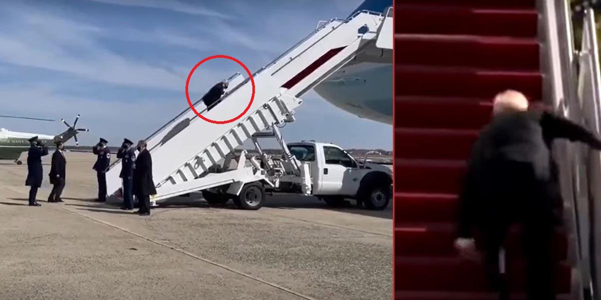 Dikkat çeken görüntü! ABD Başkanı Joe Biden uçağa binerken 3 kez düştü