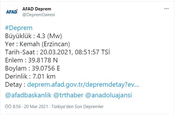 Son dakika... AFAD açıkladı: Erzincan Kemah'ta 4.3 büyüklüğünde deprem