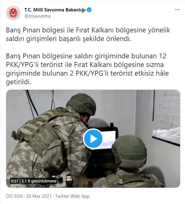 Son dakika... MSB duyurdu: Barış Pınarı Bölgesinde 14 terörist etkisiz hale getirildi