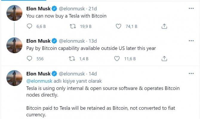 Elon Musk Bitcoin ile Tesla alınabileceğini duyurdu!