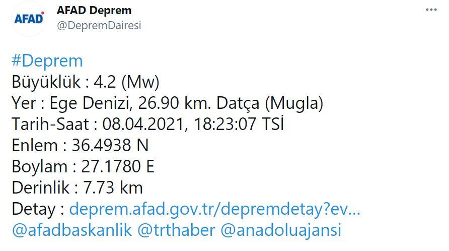 Muğla'da 4.2 şiddetinde deprem!