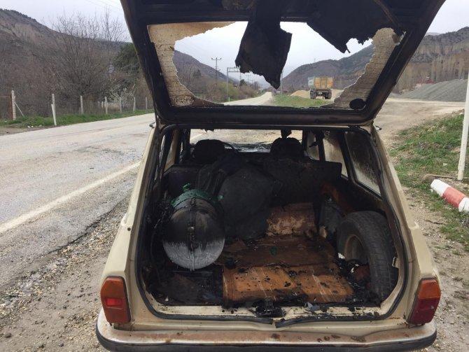 Kastamonu'da bir otomobil seyir halindeyken alev aldı