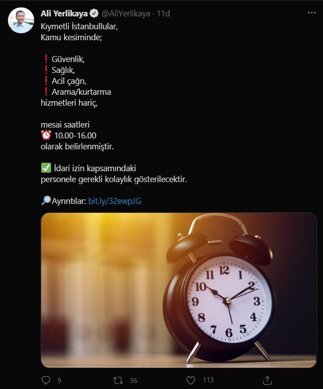 SON DAKİKA İstanbul Valisi Ali Yerlikaya dan mesai saati açıklaması