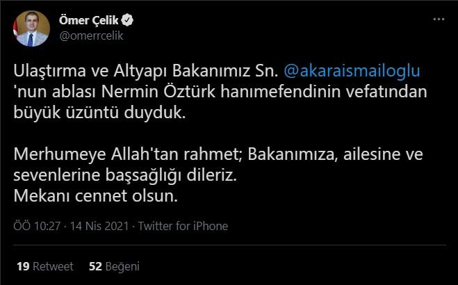 Ak Parti Sözcüsü Ömer Çelik Adil Karaismailoğlu na başsağlığı diledi