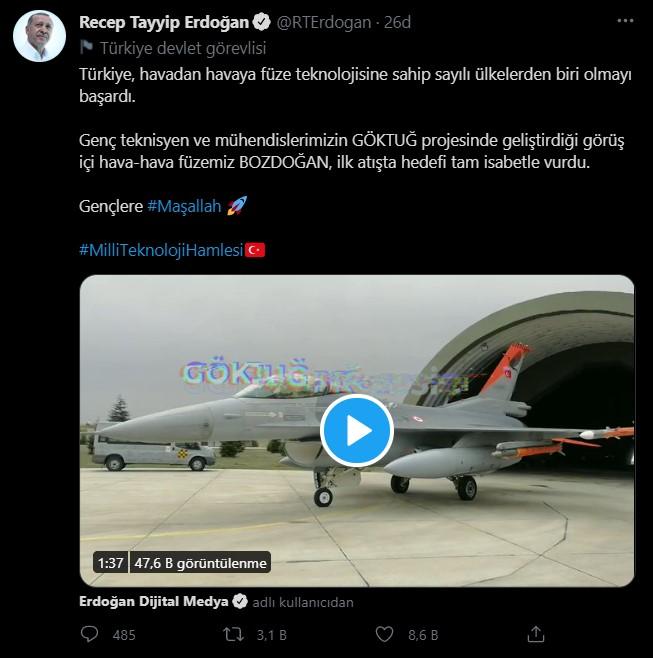 SON DAKİKA Cumhurbaşkanı Erdoğan müjdeyi verdi BOZDOĞAN ilk atışta hedefi tam isabetle vurdu