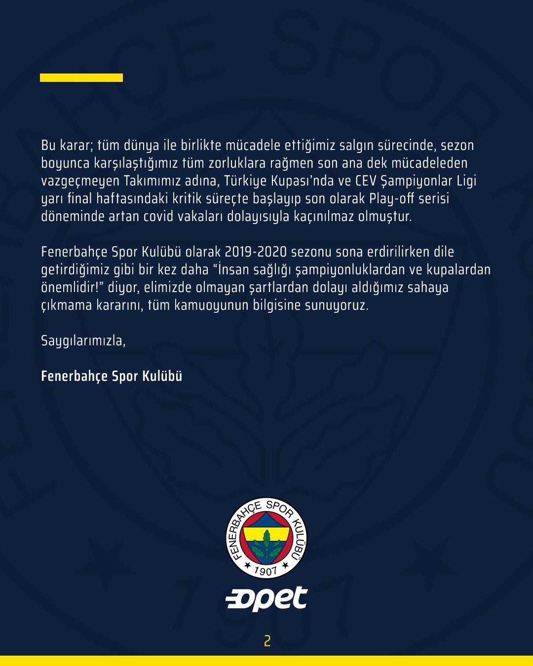 Koronavirüs şampiyonluktan etti! Fenerbahçe Opet, Vakıfbank maçına çıkmayacak