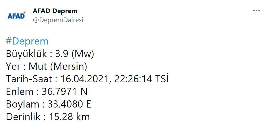 Son dakika   Mersin'de 3.9 şiddetinde deprem