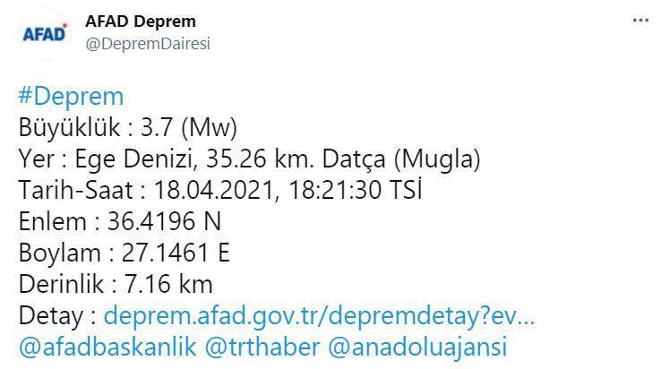 Muğla'da 3.7 şiddetinde deprem! 18 Nisan Muğla'da deprem mi oldu?