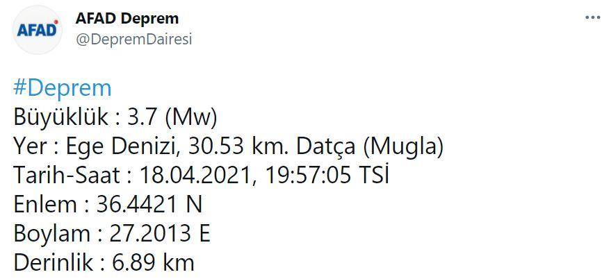Son dakika haberi | AFAD duyurdu! Datça açıklarında bir deprem daha!