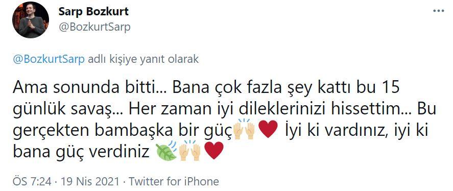 Koronavirüse yakalanmıştı! Sarp Bozkurt'tan hayranlarını sevindiren haber