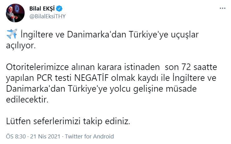THY Genel Müdürü Bilal Ekşi duyurdu: İngiltere ve Danimarka'dan Türkiye'ye uçuşlar açılıyor