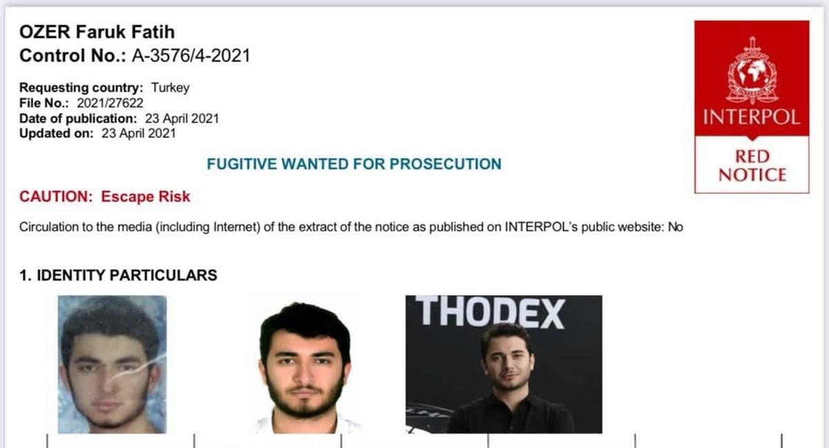 Emniyet Genel Müdürlüğü duyurdu: Thodex'in kurucusu Faruk Fatih Özer için kırmızı bülten çıkarıldı!