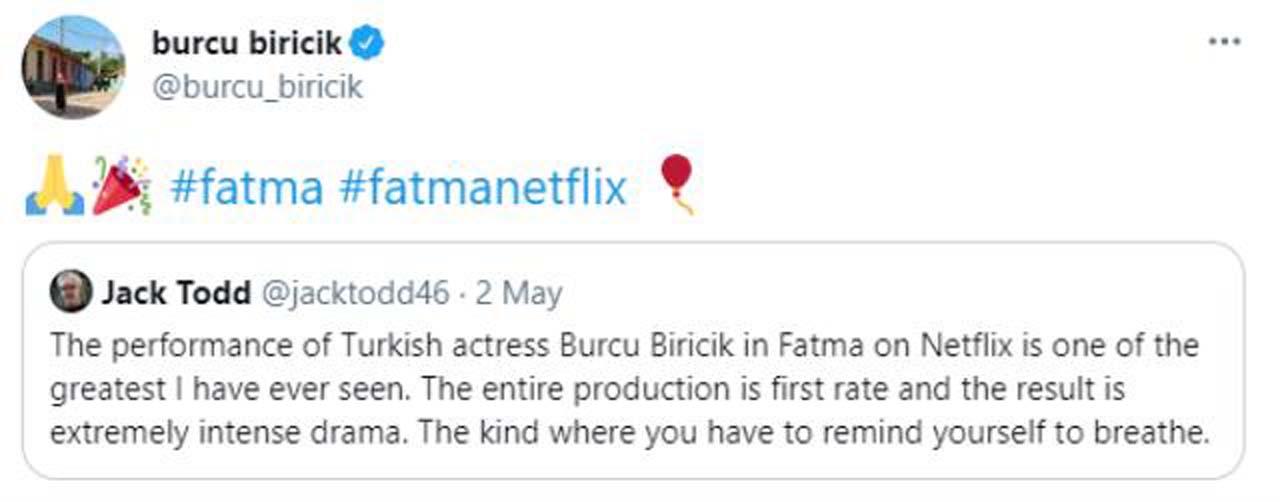 Burcu Biricik'in ünü sınırları aştı: Jack Todd'dan Fatma dizisindeki performansıyla övgü topladı