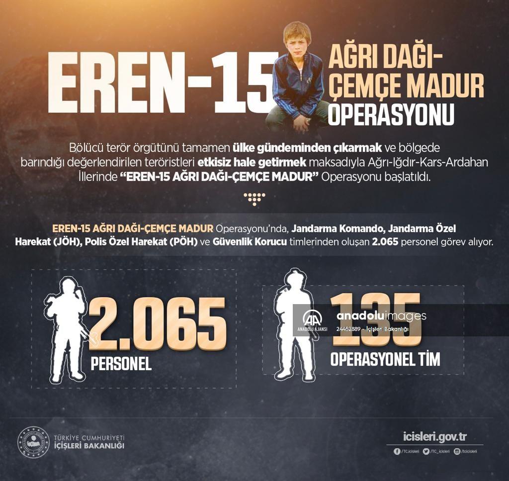 İçişleri Bakanlığından Eren 15 Ağrı Dağı Çemçe MadurOperasyonu açıklaması