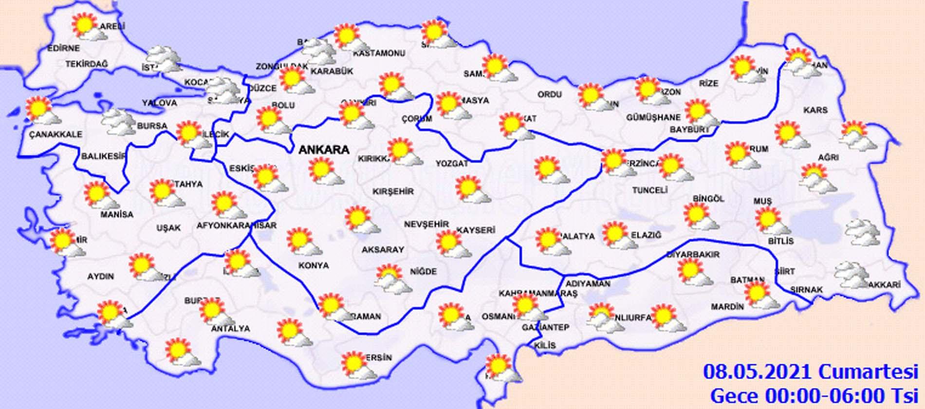 Meteoroloji açıkladı: Güneşli hava etkisini sürdürüyor! Doğu ve Güneydoğu Anadolu'da yağış var! İşte il il hava durumu