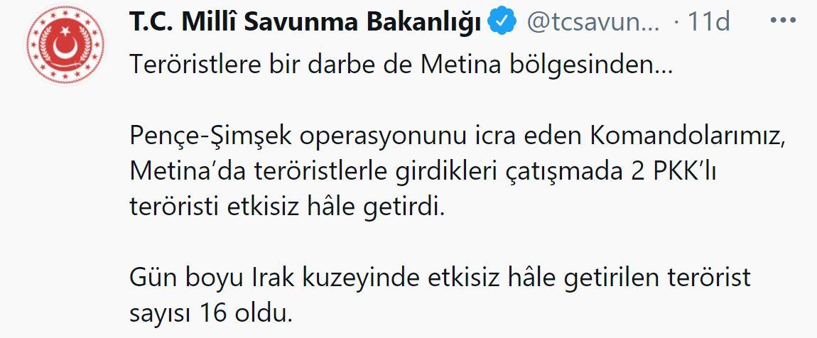 Son dakika   TSK'dan terör örgütü PKK'ya bir darbe daha!