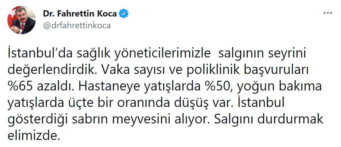 Bakan Koca açıkladı! İstanbul'da salgının seyri değişti