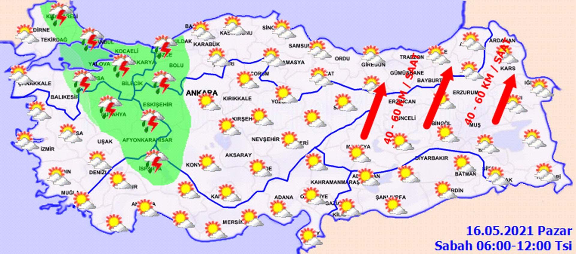 Hava bugün nasıl olacak? Meteoroloji'den üç bölge için sağanak yağış uyarısı! 16 Mayıs 2021 Pazar il il hava durumu