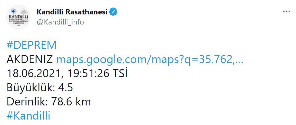 Son dakika | Muğla, Marmaris açıklarında 4.1 şiddetinde deprem