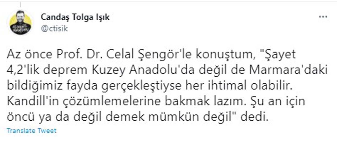 Prof. Dr. Celal Şengör'den İstanbul depremi açıklaması: Şayet Marmara'daki bildiğimiz fayda gerçekleştiyse her ihtimal olabilir!
