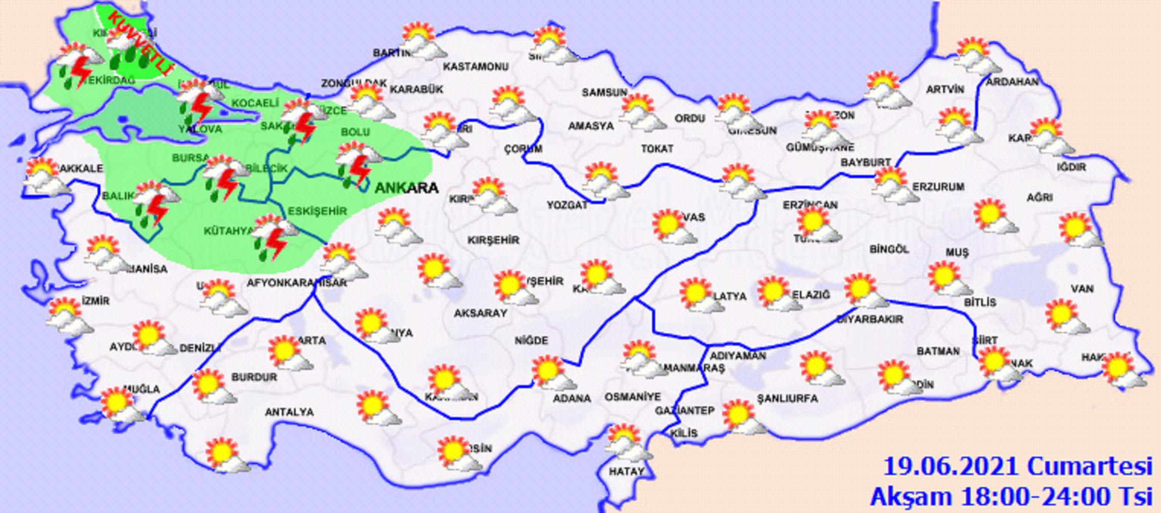 Yurdun batı kesimleri yağışlara teslim! Güneş yüzünü göstermiyor! 19 Haziran 2021 Cumartesi il il, haritalı hava durumu