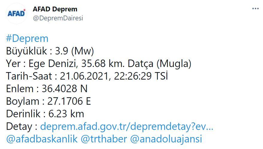 Muğla, Datça açıklarında 3.9 şiddetinde deprem