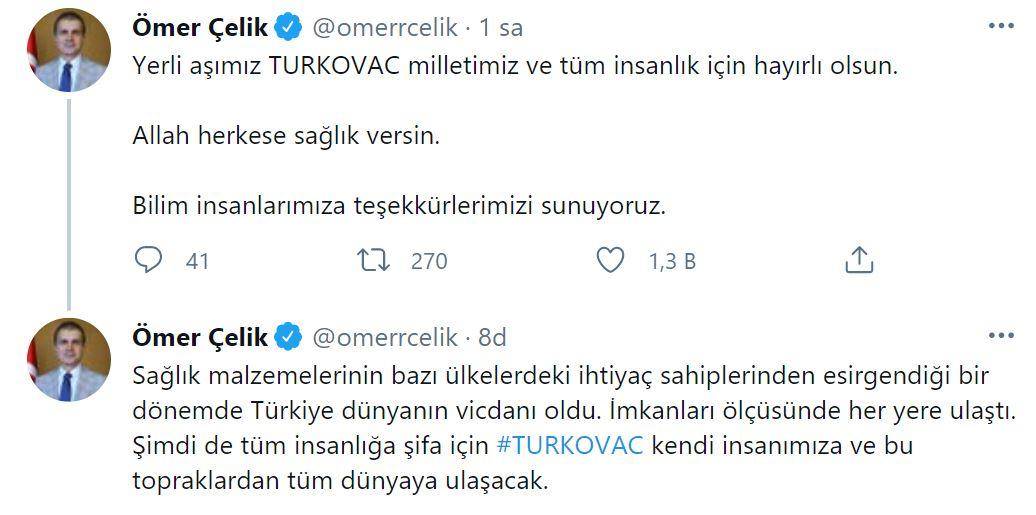 AK Parti Sözcüsü Çelik'ten flaş Turkovac paylaşımı: Türkiye dünyanın vicdanı oldu