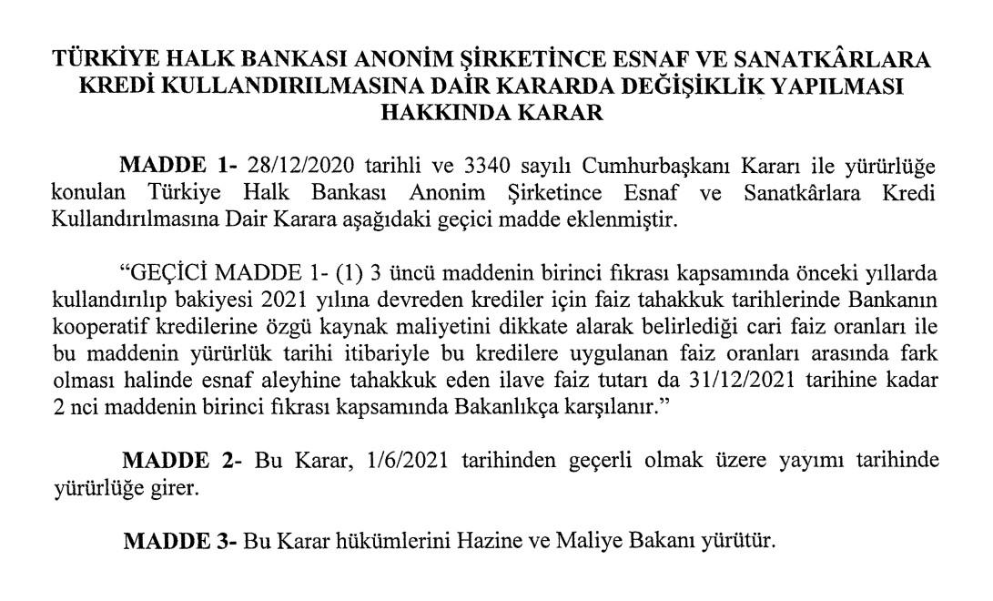 Halk Bankası'ndan kredi çeken esnaf ve sanatkarlara müjde: Faizleri Hazine ve Maliye Bakanlığı ödeyecek!