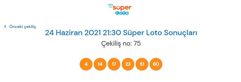 Süper Loto çekiliş sonucu sorgulama 24 Haziran 2021 Perşembe