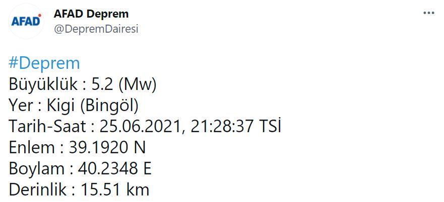 Son dakika | Bingöl'de 5.2 şiddetinde deprem!