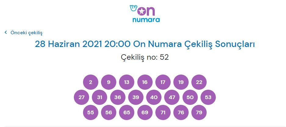 On Numara çekiliş sonuçları 28 Haziran 2021 (MPİ)