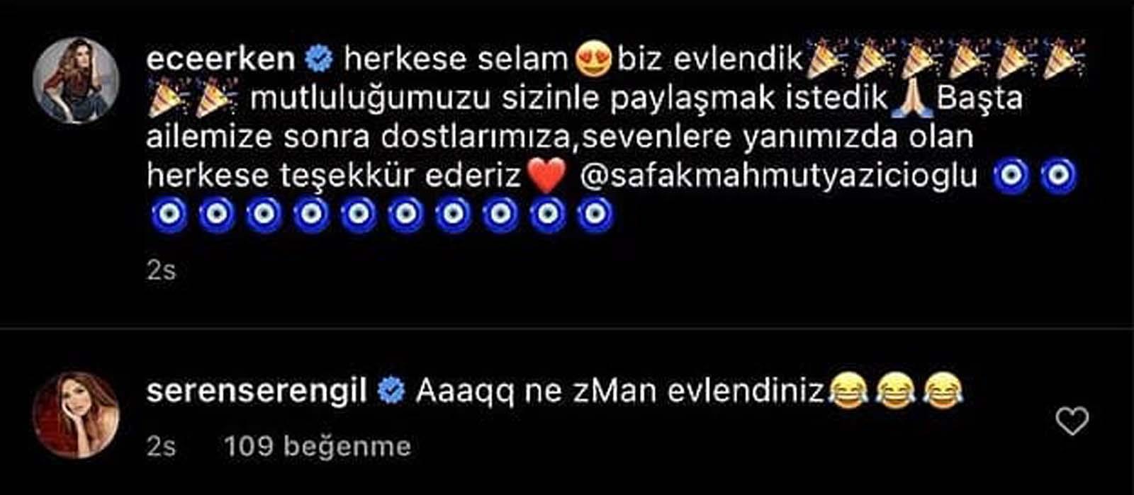 Ece Erken'in Şafak Mahmutyazıcıoğlu ile evlenmesine Seren Serengil'den şoke eden yorum!