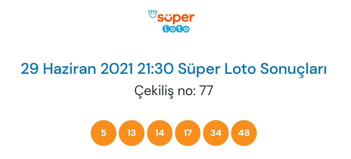 Süper Loto çekiliş sonucu sorgulama 29 Haziran 2021 Salı