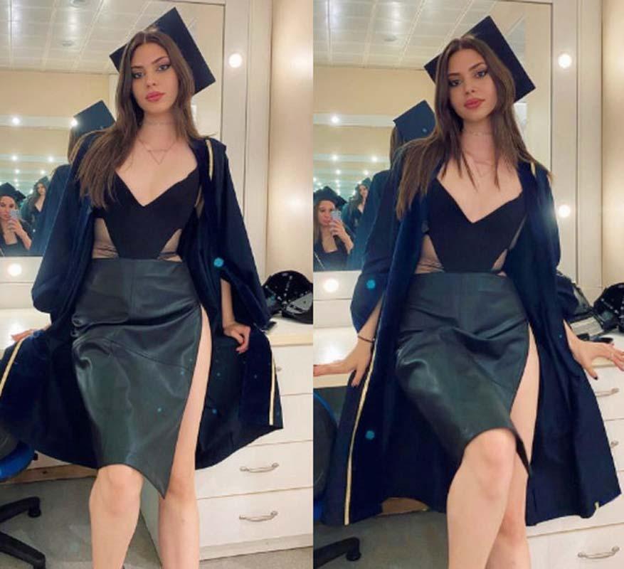 İddialı mezun! Defne Samyeli'nin kızı Derin Talu'nun mezuniyette giydiği derin yırtmaçlı eteği dikkat çekti!