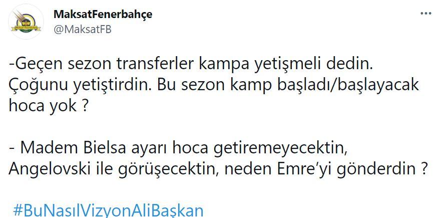Fenerbahçe taraftarlarından Ali Koç'a tepki: Bu Nasıl Vizyon Ali Başkan!