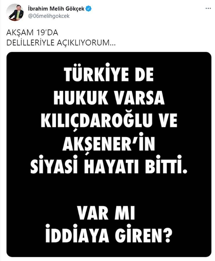 Melih Gökçek'ten ortalığı karıştıdı! Kılıçdaroğlu ve Akşener hakkında öyle bir iddiada bulundu ki!