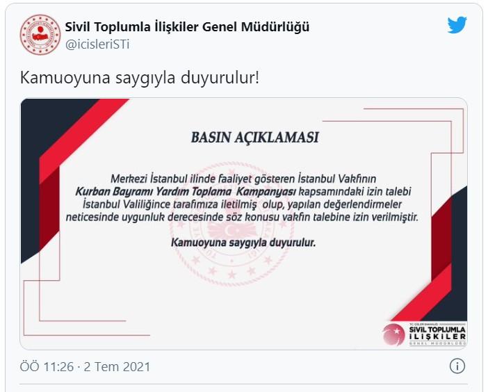 SON DAKİKA  İçişleri Bakanlığı İstanbul Vakfının Kurban Bayramı kampanyasına izin verdi