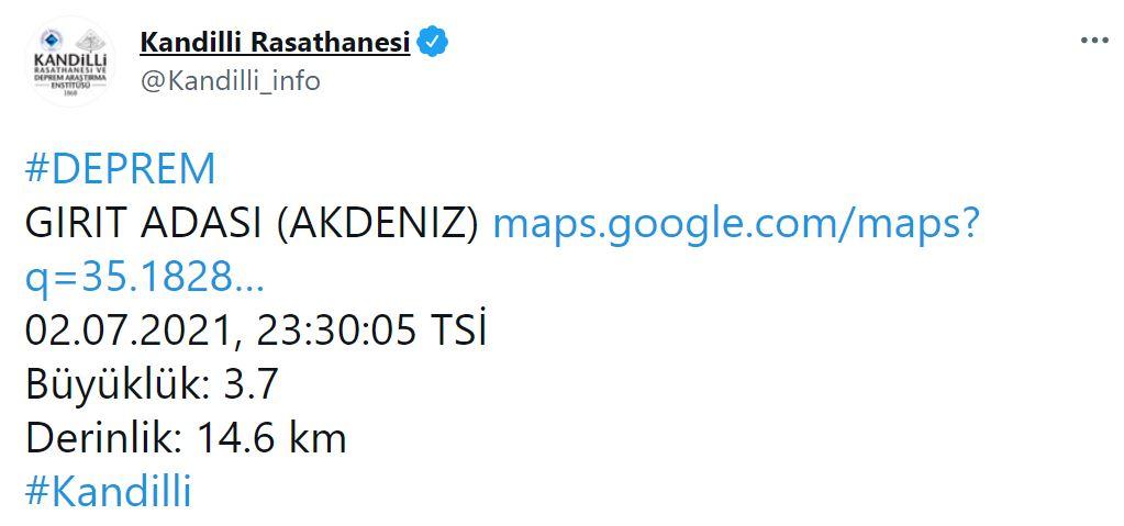 Son dakika | Komşuda 4.1 büyüklüğünde deprem