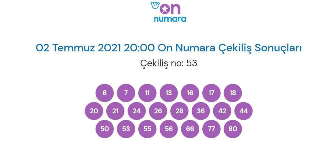 On Numara çekiliş sonuçları 2 Temmuz 2021 (MPİ)