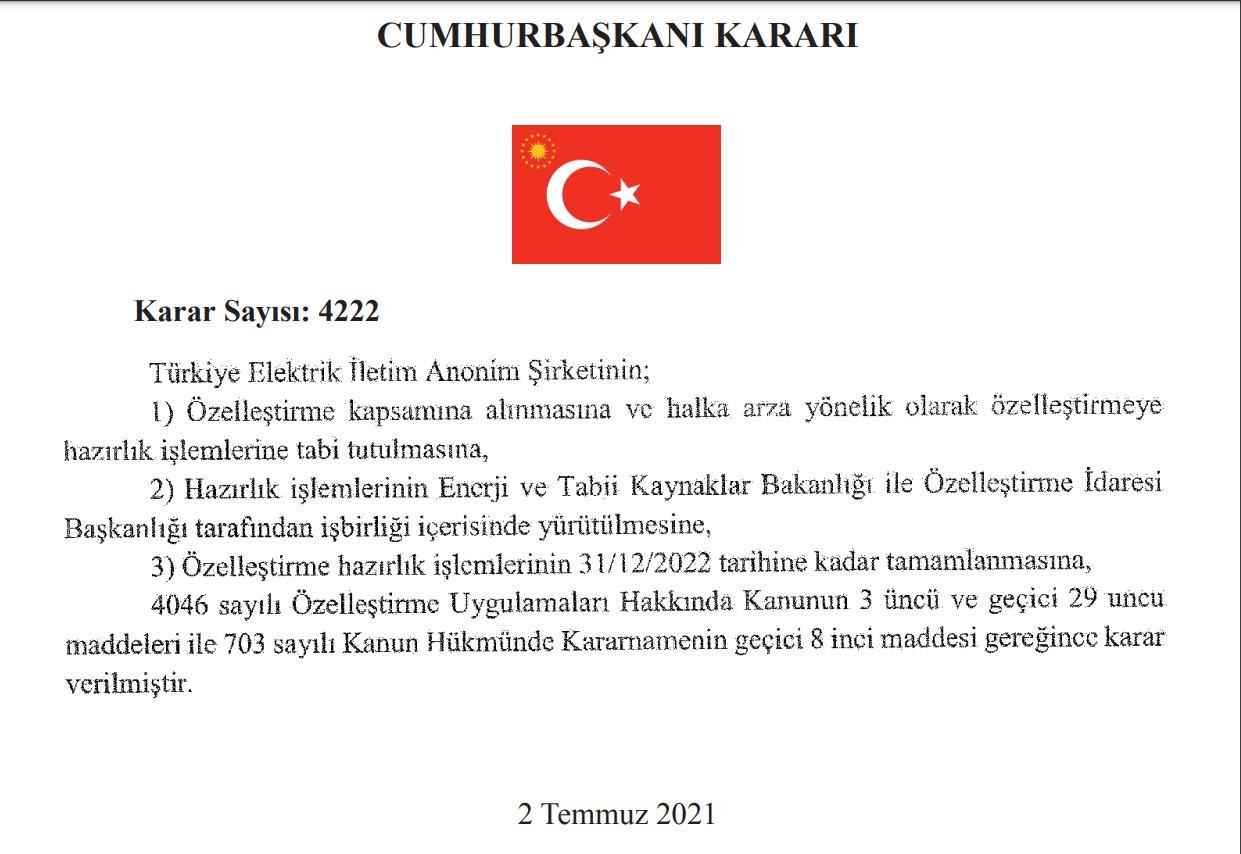 Türkiye Elektrik İletim A.Ş. özelleştiriliyor! Karar Resmi Gazete'de yayımlandı!