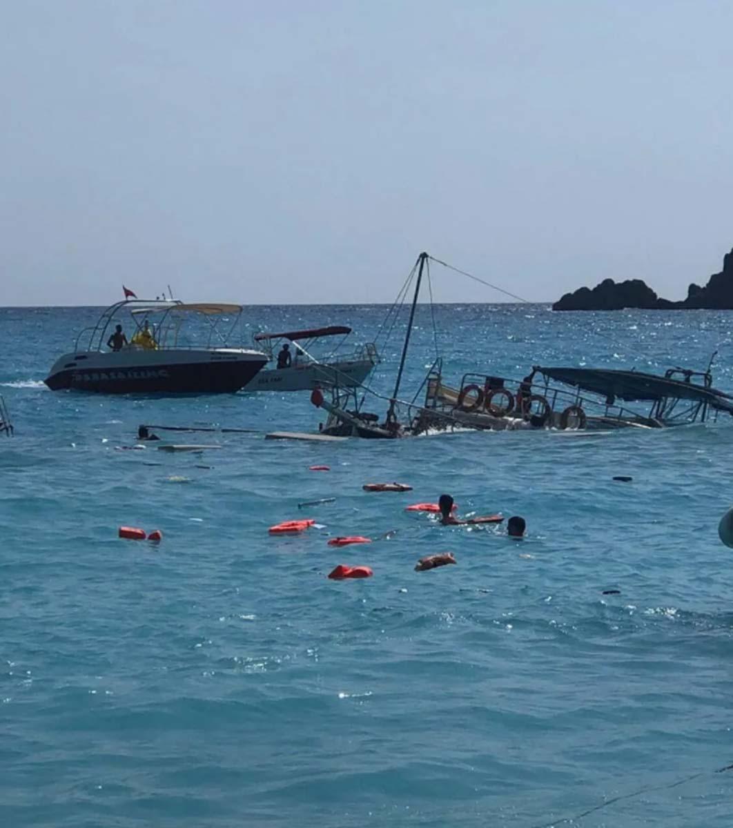 Son dakika  İçinde 38 kişi vardı! Muğla Fethiye'de tur teknesi battı: 3 yaralı
