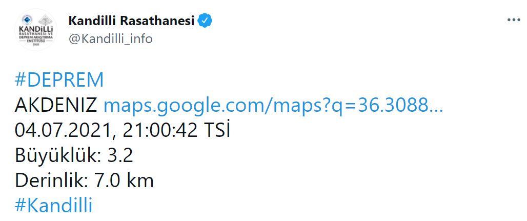 Son dakika | Kandilli Rasathanesi açıkladı! Akdeniz'de 3.9 şiddetinde deprem!
