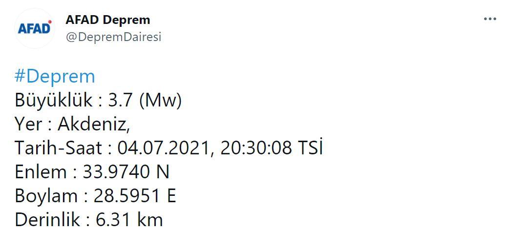 Akdeniz'de 3.9 şiddetinde deprem! 4 Temmuz Akdeniz'de deprem mi oldu?